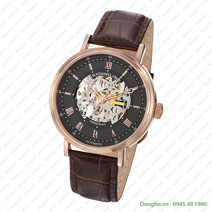 Stainless Steel Rose Tone Case on Brown Alligator Embossed Genuine Leather Strap, Gray Skeletonized Dial, with Rose Tone Accents